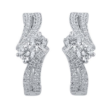 0.97 CT. T.W. Eternally Us Diamond Earrings in 14k White Gold (I, I1)