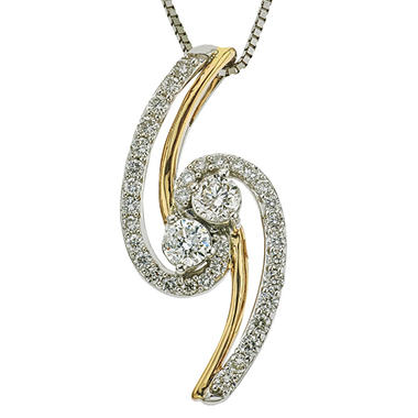 0 70 Ct T W Eternally Us Diamond Pendant In 14k Two Tone Gold I