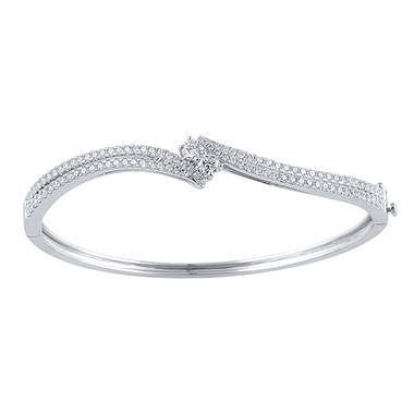 1.96 CT. T.W. Eternally Us Diamond Bangle in 14K White Gold (I, I1)