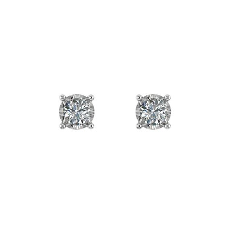 .13 CT. T.W. Diamond Solitaire Stud Earrings in 14K White Gold