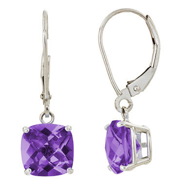 8 mm Cushion Cut Amethyst Dangle Leverback Earrings in 14K White or Yellow Gold (4.0 ct. t.w.)