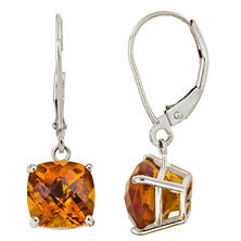 8 mm Cushion Cut Citrine Dangle Leverback Earrings in 14K White Gold (4.0 ct. t.w.)