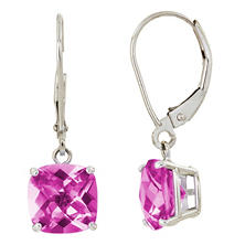 8 mm Cushion Cut Pink Topaz Dangle Leverback Earrings in 14K White Gold (5.0 ct. t.w.)