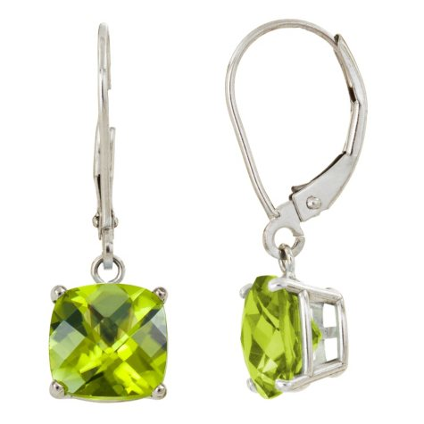 8 mm Cushion Cut Peridot Dangle Leverback Earrings in 14K White or Yellow Gold (4.5 ct. t.w.)