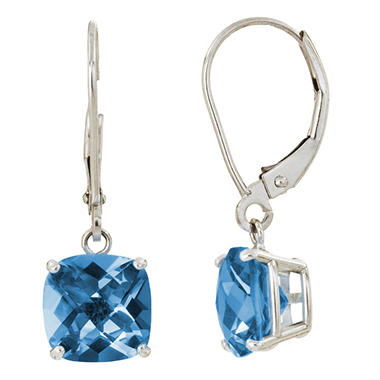 8 mm Cushion Cut London Blue Topaz Dangle Leverback Earrings in 14K White or Yellow Gold (5.0 ct. t.w.)