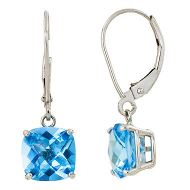 8 mm Cushion Cut Swiss Blue Topaz Dangle Leverback Earrings in 14K White Gold (5.0 ct. t.w.)
