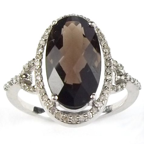 3.8 ct. Smokey Topaz and Diamond Ring in Sterling Silver