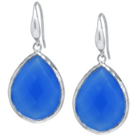 Amena K Sterling Silver Dark Blue Chalcedony Teardrop Earrings