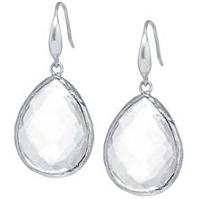 Amena K Sterling Silver Rock Quartz Crystal Teardrop Earrings