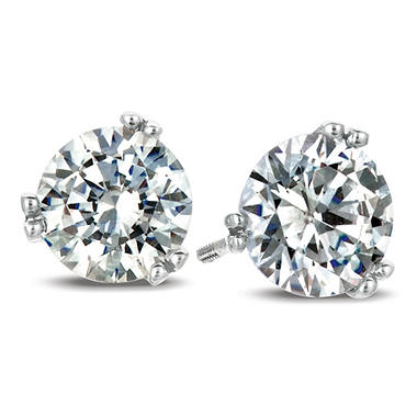 T W Round Cut Diamond Earrings In 18k White Gold I