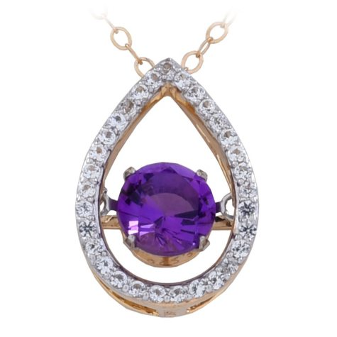 Dancing Amethyst Pendant in 14K Gold