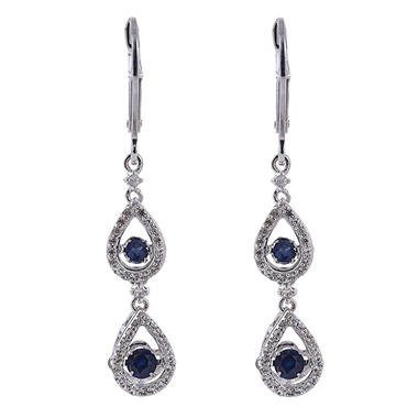 Sterling Silver Dancing Blue Sapphire Earrings with White Sapphire Accent