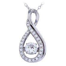 Infinity Pendant with White Topaz in 14K White Gold