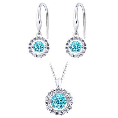 Sterling Silver Dancing Blue Topaz Pendant and Earring Set
