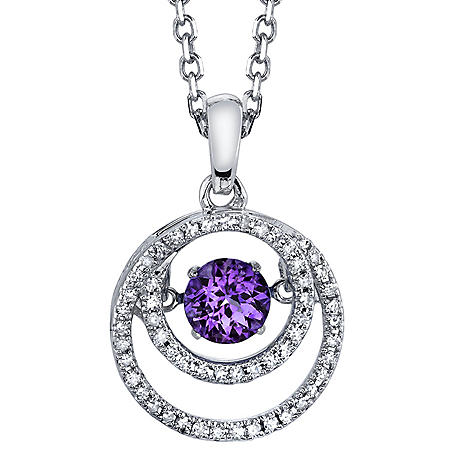 Sterling Silver Dancing Amethyst Pendant with Diamond Accent