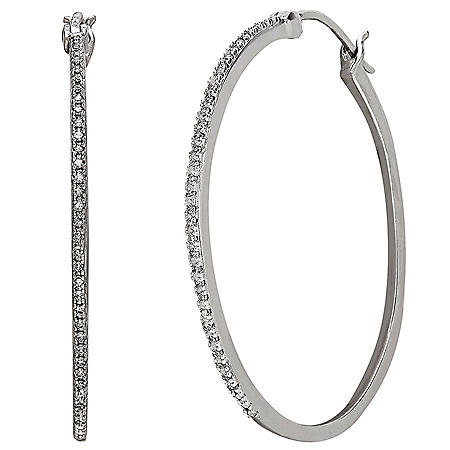 Sterling Silver with Diamond Hoop Earrings