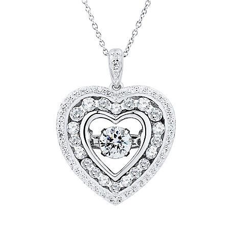 White Topaz Dancing Heart Pendant Necklace