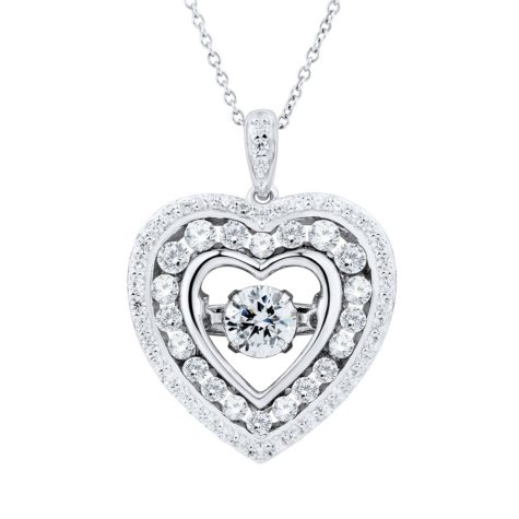 White Topaz Dancing Heart Pendant Necklace