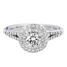 Premier Diamond Collection 1.16 CT. T.W. Round Diamond Double Halo Engagement Ring in 18K White Gold - GIA & IGI (H, SI1)