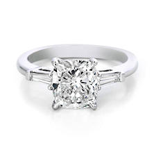 Premier Diamond Collection 2.82 CT. T.W. Cushion Diamond Engagement Ring in Platinum - GIA & IGI  (F,VS1)