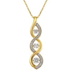 S Collection .75 CT. T.W. Three Stone Drop Diamond Pendant in 14K Yellow & White Gold