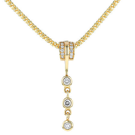 0.78 CT. T.W. Diamond Three-Stone Drop Necklace in 14K Yellow Gold
