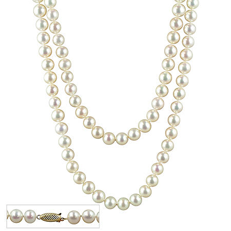 """10mm Freshwater Cultured Pearl Necklace In 14K Yellow Gold - 36"""""""