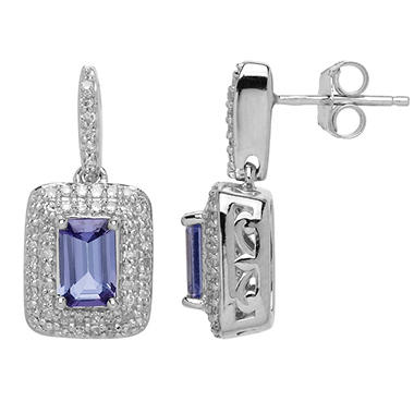 0.73 CT. Tanzanite Earrings with 0.34 CT. T.W. Diamonds in 14K White Gold