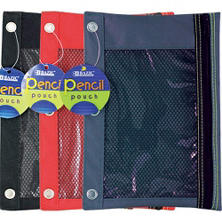 Bazic 3-Ring Polyester Pencil Pouch with Mesh Window - 144 ct.