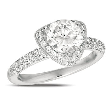 0.90 ct. t.w. Diamond Pave Solitaire Triangular-Top 18K White Gold Ring (I, SI2)