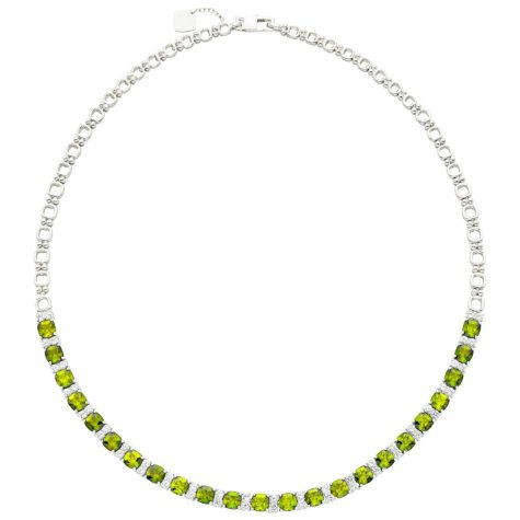 Sterling Silver Peridot and White Sapphire Necklace