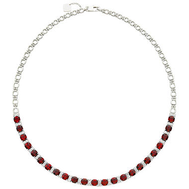 Lab Created Ruby and White Sapphire Necklace
