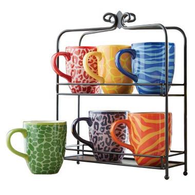 Mug Set With Stand Animal Print