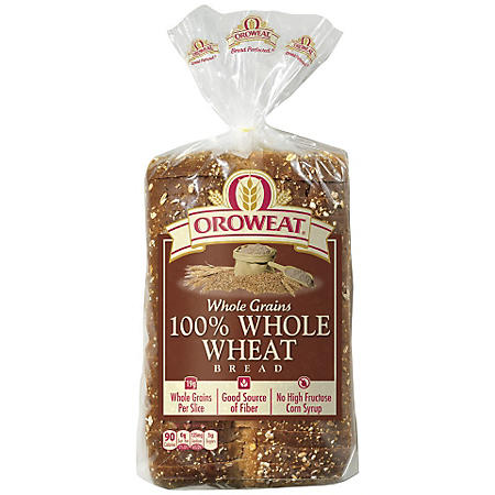 Oroweat Whole Grains 100% Whole Wheat Bread (24 oz. loaves, 2 pk.)
