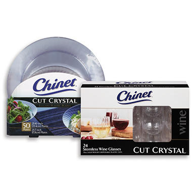 Chinet Cut Crystal Plastic Plate & Stemless Plastic Wine Glass Bundle