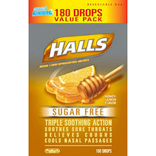 Halls Sugar-Free Cough Drops - Honey Lemon (180 ct.)