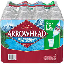 Arrowhead 100% Mountain Spring Water (1.5 L bottles, 12 pk.)