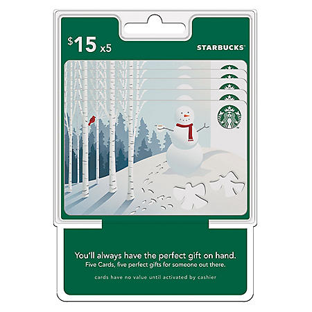 Starbuck's $75 Value Gift Cards - 5 x $15