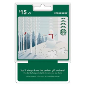 $75 (5 x $15) Starbuck's Gift Cards