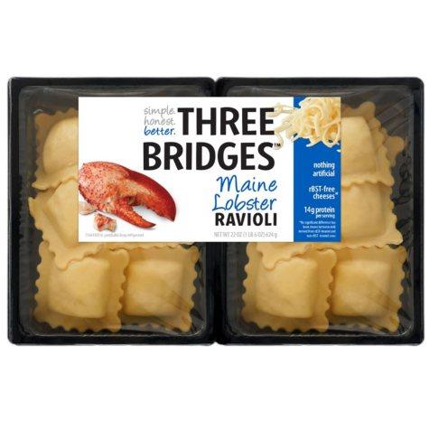 Three Bridges Maine Lobster Ravioli (22 oz., 2 pk.)