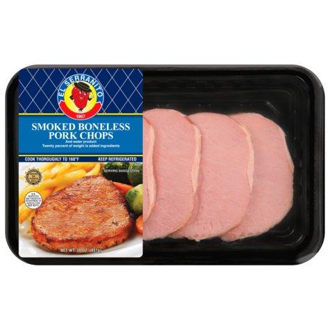 El Serranito Sliced Smoked Boneless Pork Chops - 30 oz. - 15 ct.