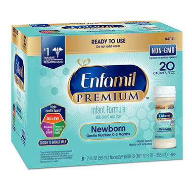 Enfamil Newborn Premium Formula Ready to Use 2 oz. Bottles (2.0 oz., 24 ct.)