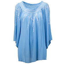 Terre Bleue Embroidered Peasant Top