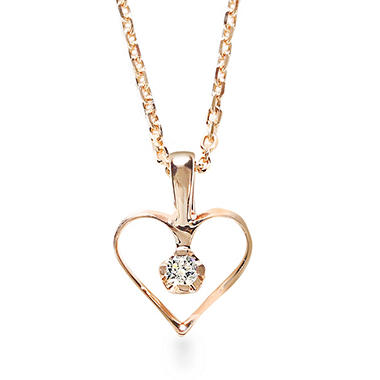 Premier Princess 0.03 CT. TW. Diamond Open Heart Pendant in 14K Rose Gold - (G-H, VS2)