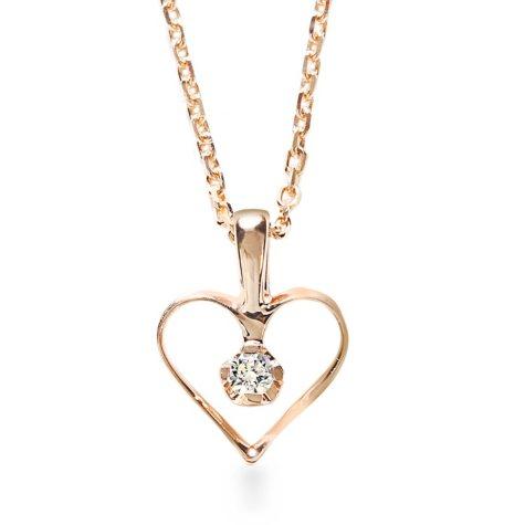 Premier Princess 0.03 CT. TW. Diamond Open Heart Pendant in 14K Rose Gold - (G-H, VS2)