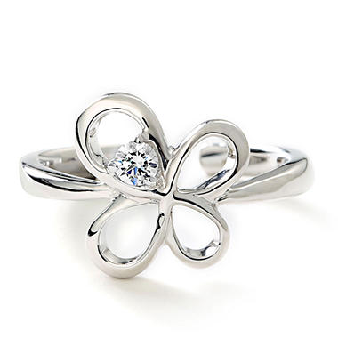 Premier Princess 0.06 CT. T.W. Diamond Butterfly Ring in 14K White Gold - (G-H, VS2)