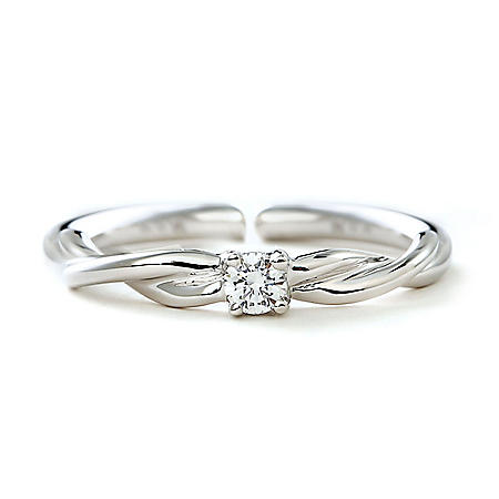 Premier Princess 0.06 CT. T.W. Diamond Ring with Twist Band in 14K White Gold - (G-H, VS2)