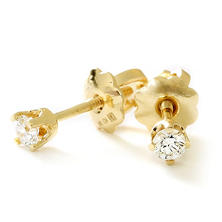 Premier Princess 0.10 CT. T.W. Diamond Stud Earrings in 14K Yellow Gold - (G-H, VS2)