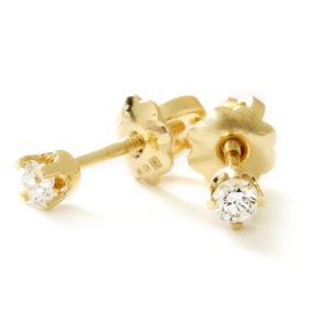 Premier Princess 0.10 CT. T.W. Diamond Stud Earrings in 14K Gold - (G-H, VS2)