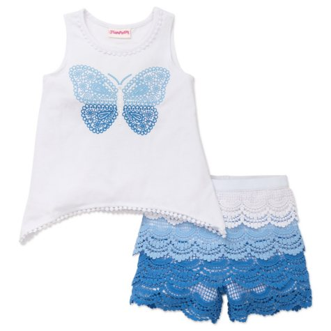 Flapdoodles Girl's White Butterfly Short Set